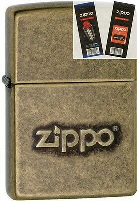 $20 • Buy Zippo 28994 Stamped Logo Antique Lighter With *FLINT & WICK GIFT SET*
