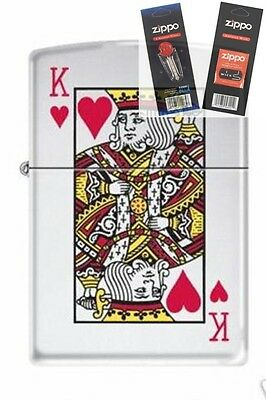 $17.21 • Buy Zippo 7555 King Of Hearts Chrome Lighter With *FLINT & WICK GIFT SET*