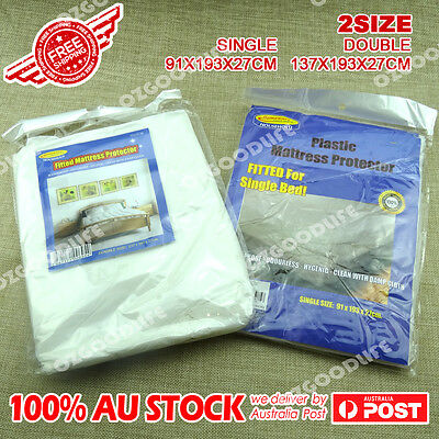 AU12.96 • Buy 2X Waterproof Single Or Double Mattress Protector Cover Fitted Plastic Sheet Bed