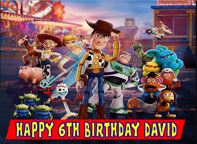 £4.90 • Buy Edible Toy Story 4 Buzz Light Year Woody Happy Birthday Name  Icing Cake Topper