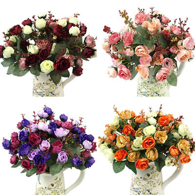 £3.29 • Buy 1 Bouquet 21 Head Concise Artificial Rose Silk Flower Leaf Home Wedding Decor