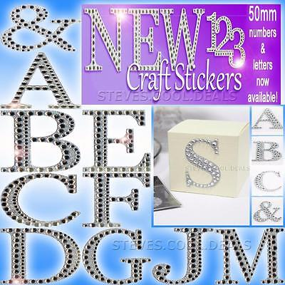 LUXURY DIAMANTE GLITTER LETTERS NUMBERS CRAFT STICKERS 5cm Large Self Adhesive • 1.64£