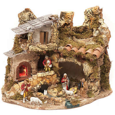 £100.34 • Buy Nativity Village, Stable With Fire 28x38x28cm