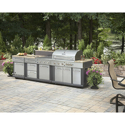 $4999.98 • Buy Huge Outdoor Kitchen Bbq Grill - Sink - Refrigerator - Ice Box - Trash Can