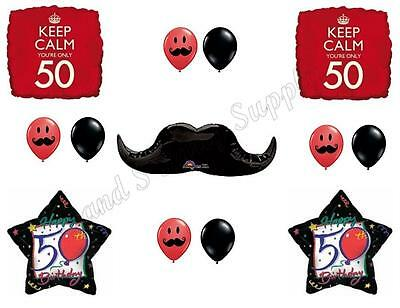 KEEP CALM MUSTACHE 50th Happy Birthday Party Balloons Decoration Supplies Fifty • 12.25£
