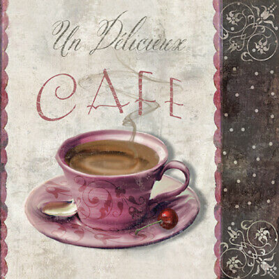 20 Paper Lunch Napkins French Cup Of COFFEE MEETING Decoupage Vintage Kitchen • 4.55£