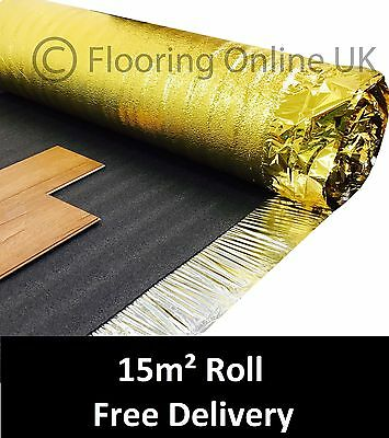 15m2 Roll - Sonic Gold 5mm - Acoustic Underlay For Wood Or Laminate Flooring • 22.50£