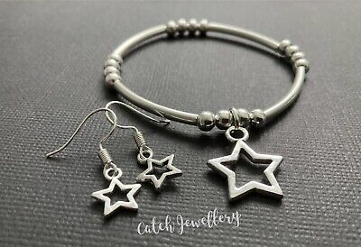 Noodle And Ball Stretch Bracelet With Open Star Open Heart Mini Star Love Heart • 3.49£