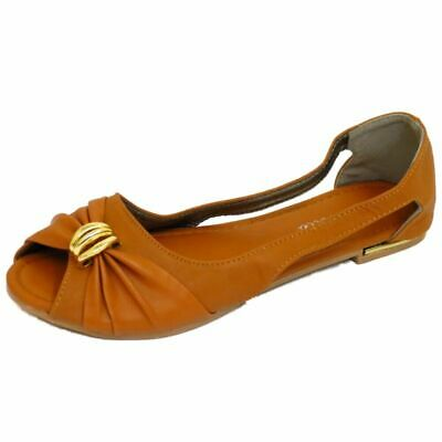 Ladies Flat Tan Slip-on Peep-toe Ballerina Dolly Shoes Comfy Ballet Pumps 3-7 • 5.99£