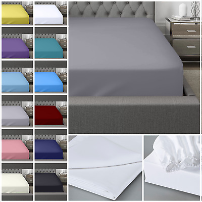 £11.99 • Buy 400 Thread Count 100% Egyptian Cotton Fitted Sheet Flat Sheet Single Double King