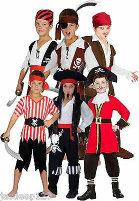 Pirate Boys Fancy Dress Costumes Childrens Kids Book Week Halloween Ages 3-13    • 8.99£