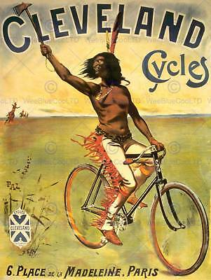 Travel Transport Cleveland Cycles Native American Bike Fine Art Poster Cc4498 • 9£