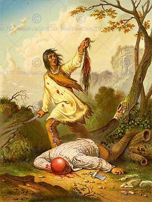£9 • Buy Painting Draw Native American Indian Scalp Violence Trophy Blood Print Cc1128