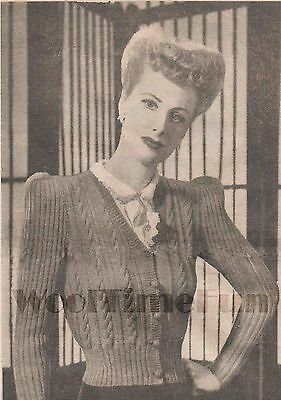 Knitting Pattern Vintage Lady's 1940s Cable Stitch Cardigan.  3ply Wool. • 1.65£