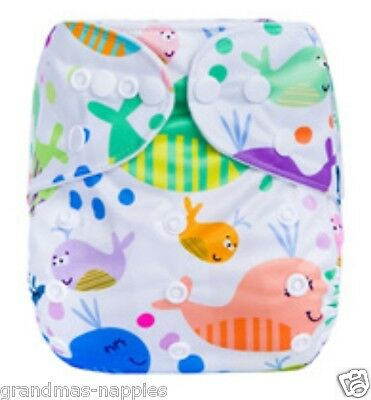 AU9.95 • Buy MODERN CLOTH NAPPIES REUSABLE ADJUSTABLE DIAPERS Whales SHELL