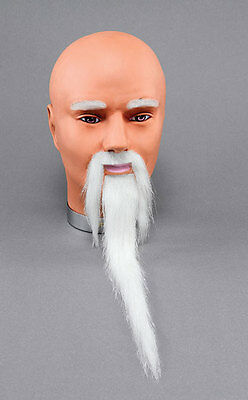 White Wizard Chinese Old Man Fancy Dress Beard & Tash Costume Accessory New • 6.99£