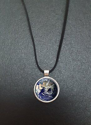 £5.95 • Buy Planet Earth Pendant On A 18  Black Cord Necklace Ideal Birthday Gift N36