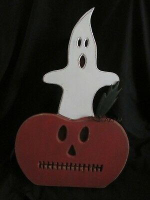 $49.99 • Buy 17  Halloween Wood Ghost & Pumpkin Lighted Table Centerpiece Primitives By Kathy