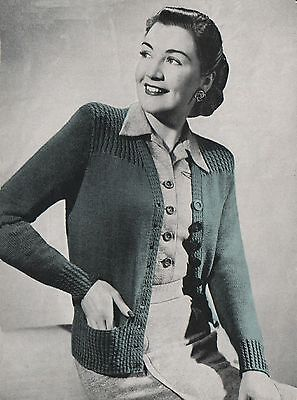 Knitting Pattern Lady's Vintage 1940s Jacket/Cardigan 38 To 40 Inch Bust. • 1.70£