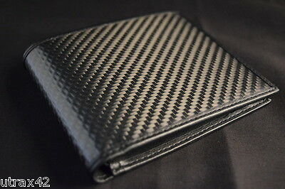 $34.95 • Buy Real Carbon Fiber & Genuine Leather Bifold Wallet W/ Photo Id Flap - Formula 1