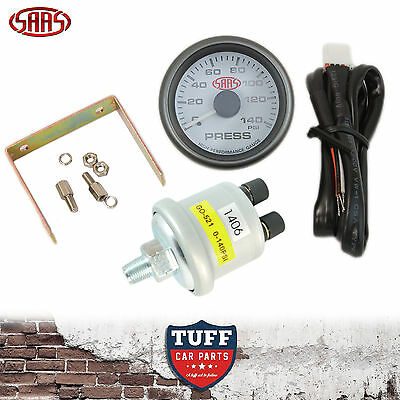 AU72 • Buy SAAS Oil Pressure Gauge White Face Dial 52mm Multi Colour + Sender & Fitting Kit