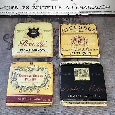 £14.85 • Buy French Wine Label Tile Coasters Boxed Set Of 4 Vintage Shabby Chic Style