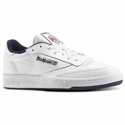 AU60.95 • Buy Reebok Club C 85 AR0457 White/Navy Leather Casual  Men Shoes Fast Shipping