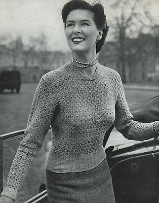 Vintage Knitting Pattern Lady's 1940s Jumper. 33 To 38 Inch Bust. • 1.65£