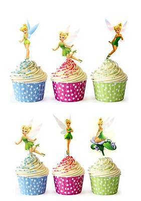 £5.09 • Buy 40 X TINKERBELL PRINCESS Edible Cup Cake Toppers Premium Wafer Party *STAND UP*