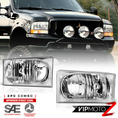 $50.24 • Buy 1999-2004 Ford F250 F350 F450 SuperDuty SD Chrome Headlights Lamps LEFT RIGHT