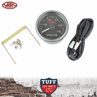 AU66 • Buy SAAS Volt Gauge Black Face Dial 52mm Multi Colour 8v - 18v + Fitting Kit