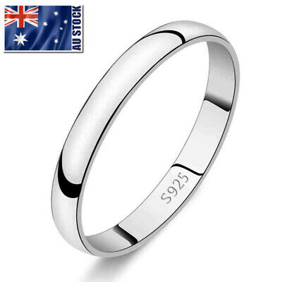 AU6.99 • Buy Genuine 925 Sterling Silver Solid 2mm Thin Classic Plain Band Wedding Ring