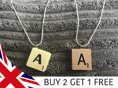 £1.99 • Buy Scrabble Tile Necklace - 22  Chain - Wood Or Classic - All Letters - Made In UK