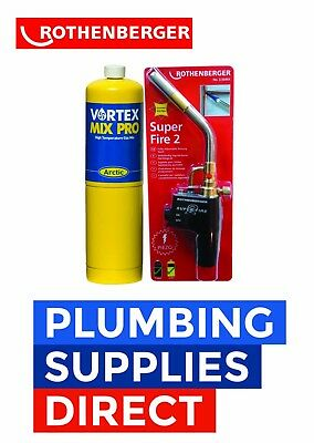 £79.99 • Buy Rothenberger Super Fire 2 Blow Brazing Torch & Mapp Gas Plumbing - Soldeing