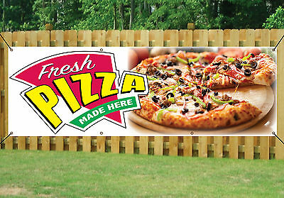 PIZZA SHOP TAKEAWAY BANNER FRESH MADE HERE OUTDOOR SIGN PVC With Eyelets V2 • 24.99£