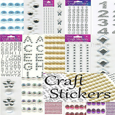 CRAFT STICKERS PEARLS DIAMONDS HEARTS NUMBERS WEDDING DECORATIONS Embellishments • 2.20£