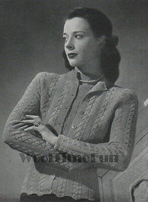 Vintage Knitting Pattern Lady's 1940s Cable Design Jumper & Cardigan, Twin Set. • 1.65£