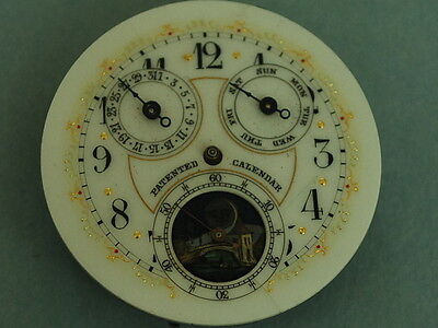 £219.29 • Buy Rare Antique Triple Date Day Moon Phase Pocket Watch Movement W/Multi Color Dial