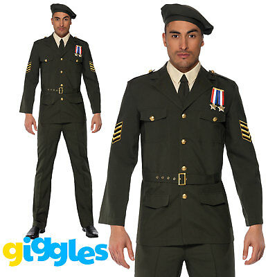 Adult Mens Army Officer Costume 40s Wartime WW2 Uniform Fancy Dress Outfit • 44.99£