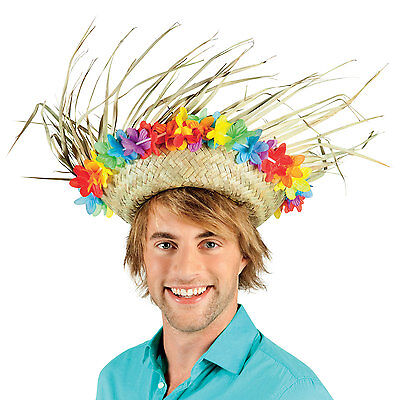 Mens Ladies Straw Hat Hawaiian Lei Summer Party Silly Fancy Dress Costume New • 6.99£