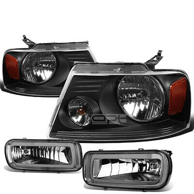 $140.98 • Buy For 04-06 Ford F150 Black Amber Headlight+turn Signal Lamp+smoked Oe Fog Light