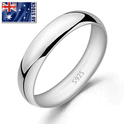 AU9.99 • Buy Genuine 925 Sterling Silver Solid Classic 4mm Plain Band Wedding Ring Jewelry