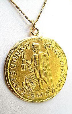 £63.01 • Buy Old Style Coin Greek Jupiter Roman Gold Round Charm Necklace Pendant Antique 14