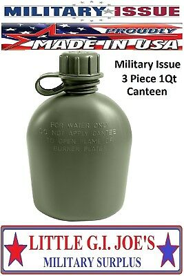 $ CDN9.67 • Buy (1) NEW Military Issue Military Canteen Plastic 1Qt Canteen 3Pc OD Green USA 605