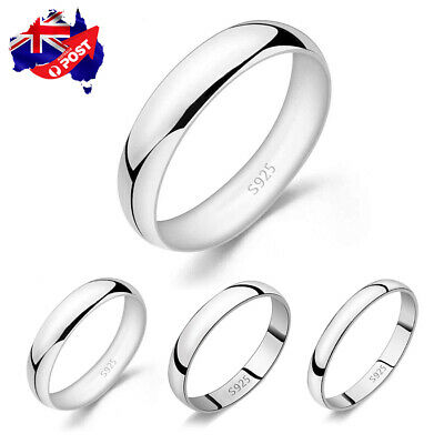 AU8.99 • Buy Genuine 925 Sterling Silver Solid 2mm 3mm Thin Classic Plain Band Wedding Ring