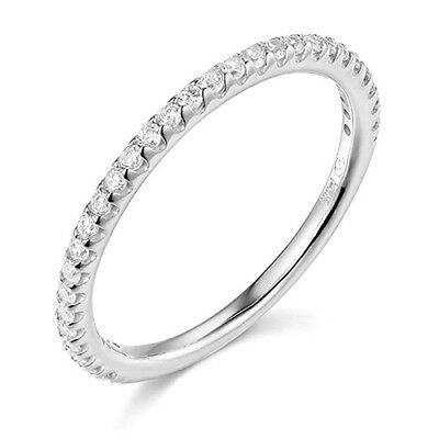 $157.48 • Buy 1.25 Ct Round Cut Real 14k White Gold Engagement Wedding Anniversary Band Ring