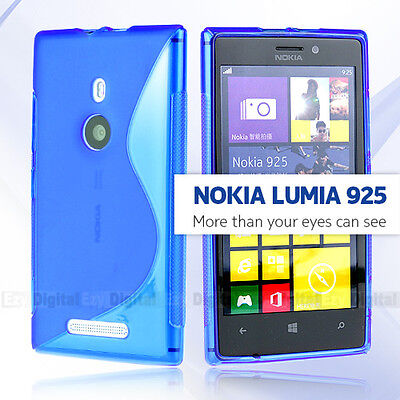 AU3.99 • Buy Premium BLUE S CURVE GEL TPU Jelly CASE COVER FOR Nokia Lumia 925