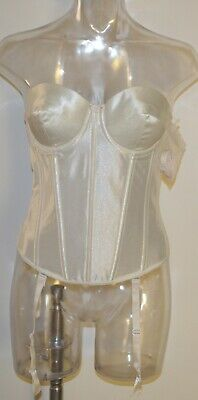 Bustier Push-Up Satin Low Back Vintage With Removable Straps&Garters, #7703 BNWT • 47.50£