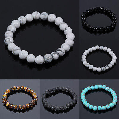 $0.99 • Buy Natural Stone Bead Bracelet Men Women Tiger Eye Turquoise Bangle Jewelry Gift