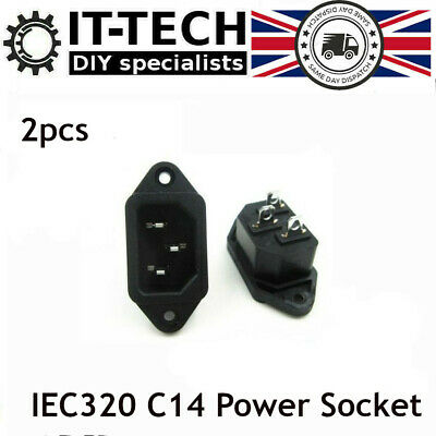 3pin AC IEC320 C14 Inline Chassis Power Socket Connector 10A 250V Mains Plug 2pc • 3.41£